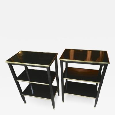 Maison Jansen Maison Jansen Chicest Pair of 3 Tier Black Side Table with Bronze Accent