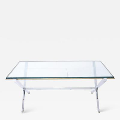 Maison Jansen Maison Jansen Chrome and Brass X Base Coffee Table