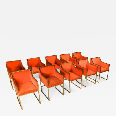 Maison Jansen Maison Jansen Dining Armchairs in Brass and Orange Velvet 1980s