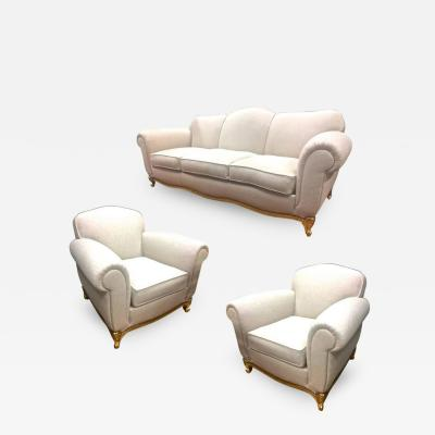 Maison Jansen Maison Jansen Exceptional Comfy Neoclassic Set of One Couch and Two Armchairs
