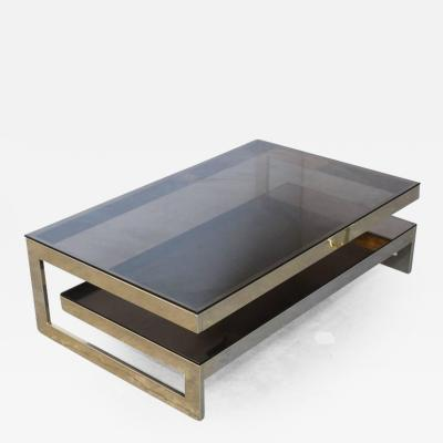 Maison Jansen Maison Jansen G Shaped 23 Carat Gold Plated Two Tier Coffee Table