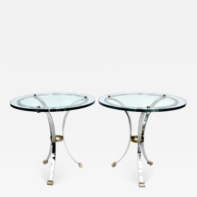 Maison Jansen Maison Jansen Glass Chrome Brass Side Tables in Neoclassical Style