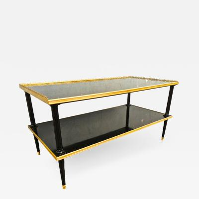 Maison Jansen Maison Jansen Long 2 Tier Coffee Table in Black Lacquered Wood Gold Bronze