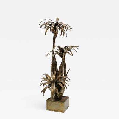 Maison Jansen Maison Jansen Mid Century Modern Brass Palm Tree French Floor Lamp