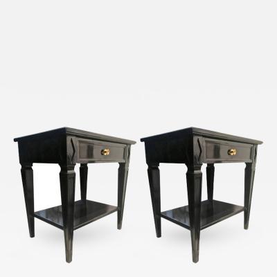 Maison Jansen Maison Jansen Pair of Blackened Wood Bedside or Side Table
