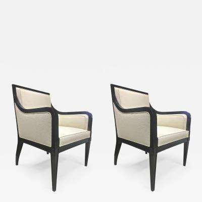 Maison Jansen Maison Jansen Pair of Chicest Black Arm Chair Covered in Silk Canvas