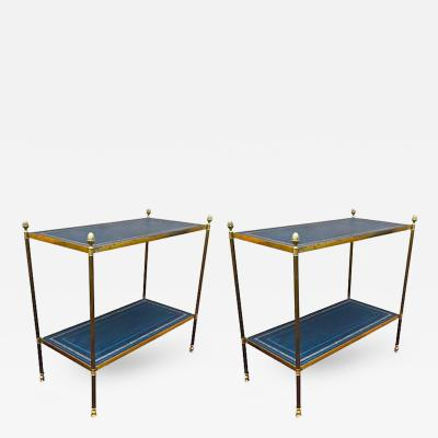 Maison Jansen Maison Jansen Pair of Two Tier Neoclassic Side Table with Gold Adorn Leather Top