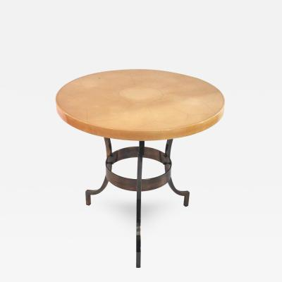 Maison Jansen Maison Jansen Pedestal Table Lacquered Wood and Iron Base France circa 1970