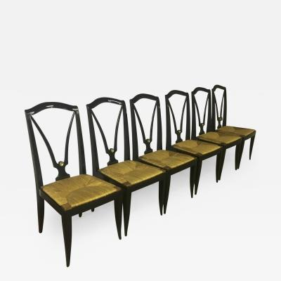 Maison Jansen Maison Jansen Refined Set of 6 Black Dining Chairs with Rush Seat