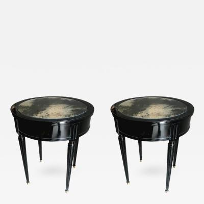 Maison Jansen Maison Jansen Signed Pair of Side Blackened Wood Tables with Oxidized Mirror Top