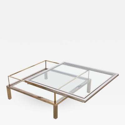 Maison Jansen Maison Jansen Sliding Top Coffee Table in Brass and Chrome