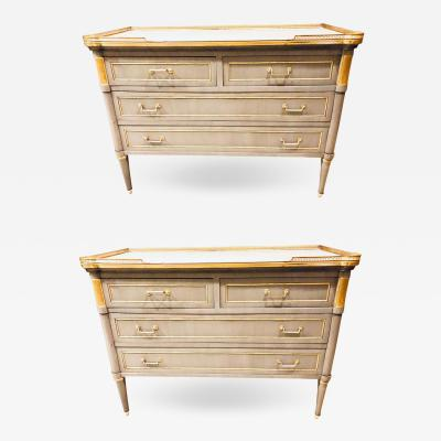 Maison Jansen Maison Jansen Style Louis XVI Painted Commodes Chests or Nightstands a Pair
