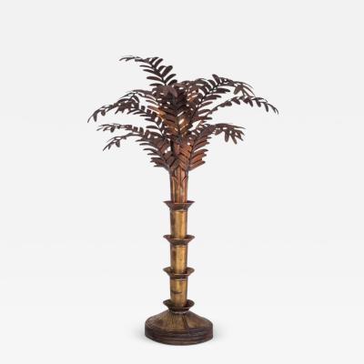 Maison Jansen Maison Jansen Style Palmtree Table Lamp In Copper 1970s