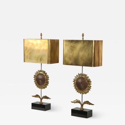 Maison Jansen Maison Jansen Sunflower Pair of Lamps 1970s