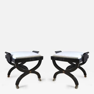 Maison Jansen Maison Jansen Superb Pair of X Black Stool with Lion Legs
