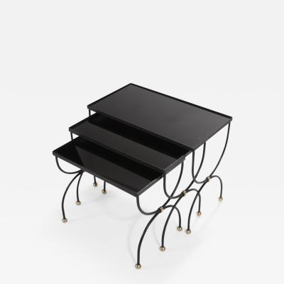 Maison Jansen Maison Jansen black and brass nesting tables 1960s