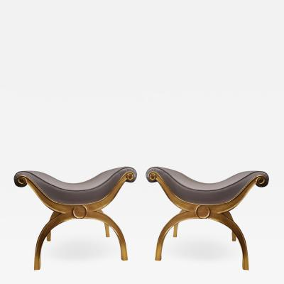 Maison Jansen Maison Jansen chicest gold leaf x shaped stools