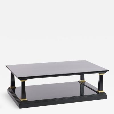 Maison Jansen Maison Jansen longest spectacular 2 tiers black and gold leaf coffee table
