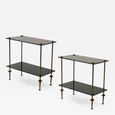 Maison Jansen Maison Jansen pair of 2 tier side table in black opaline and bronze