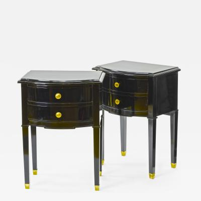Maison Jansen Maison Jansen pair of black lacquered coffee table or side table