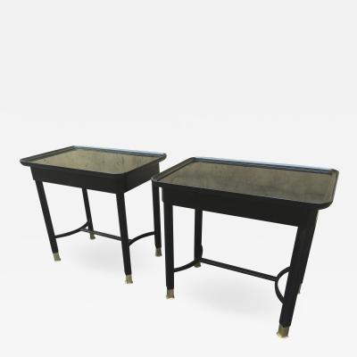 Maison Jansen Maison Jansen pair of black lacquered refined side tables