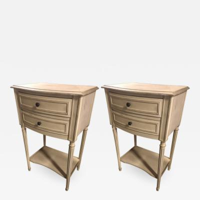 Maison Jansen Maison Jansen pair of raw white patina refined side tables