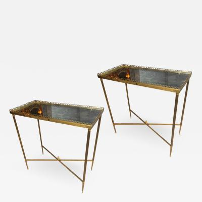 Maison Jansen Maison Jansen pair of refined gold bronze 2 tier side tables
