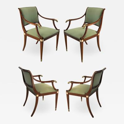Maison Jansen Maison Jansen refine set of 4 silver greyhound arm chairs