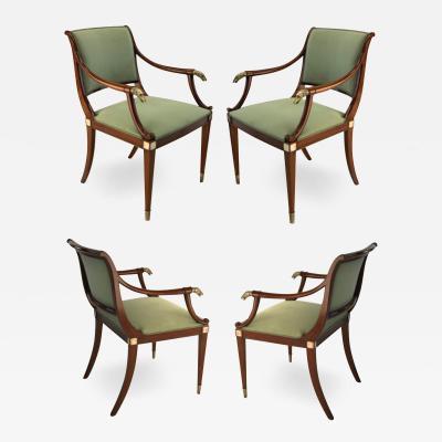 Maison Jansen Maison Jansen refine set of 4 silver greyhound arm chairs