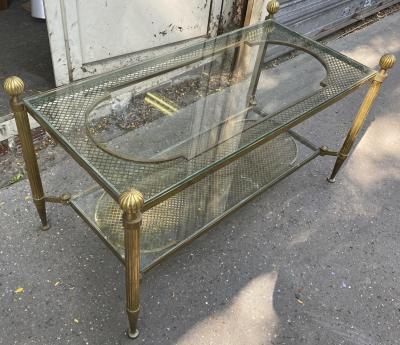 Maison Jansen Maison Jansen refined 2 tier large coffee table with gold bronze accent