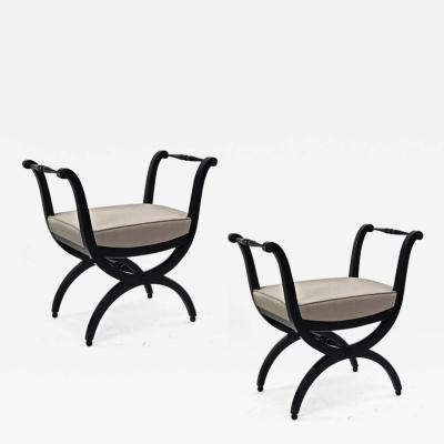 Maison Jansen Maison Jansen refined harp shaped pair of black lacquered stools