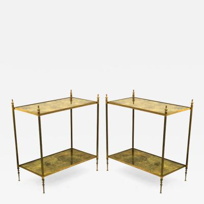 Maison Jansen Maison Jansen refined pair of 2 tier coffee table with gold leaf glass shelves