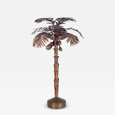 Maison Jansen Maison Jansen style Palmtree Floor lamp in Copper 1970s