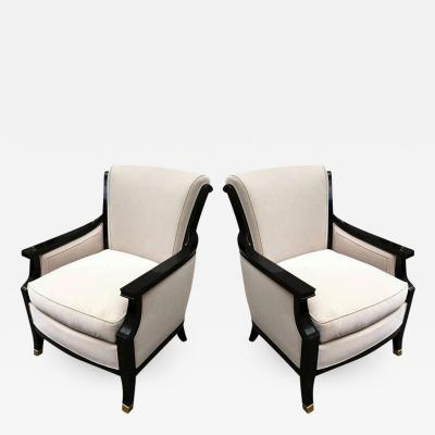 Maison Jansen MaisonJansen Pair of Chicest 1940s Chairs Black Lacquered with Gold Bronze Sabot