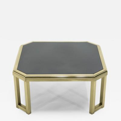 Maison Jansen Mid Century brass black opaline end table by Maison Jansen 1970s