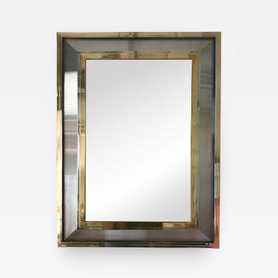 Maison Jansen Mirror Stainless Steel Chrome Brass by Maison Jansen France 1970s