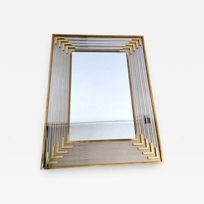 Maison Jansen Mirror in Brass Chromed Metal and Lucite