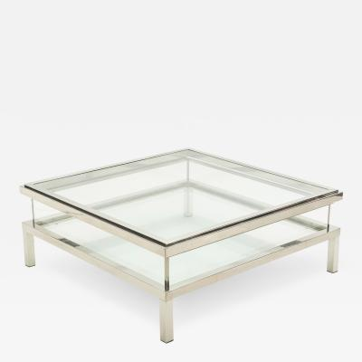 Maison Jansen Nickeled vitrine sliding coffee table Guy Lefevre for Maison Jansen 1970s