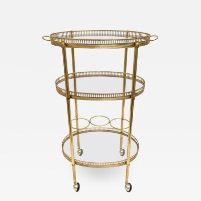 Maison Jansen Oval Brass Bar Cart