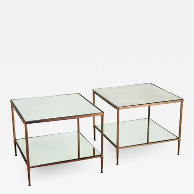 Maison Jansen PAIR OF BRONZE TWO TIER SIDE TABLES IN THE MANNER OF MAISON JANSEN
