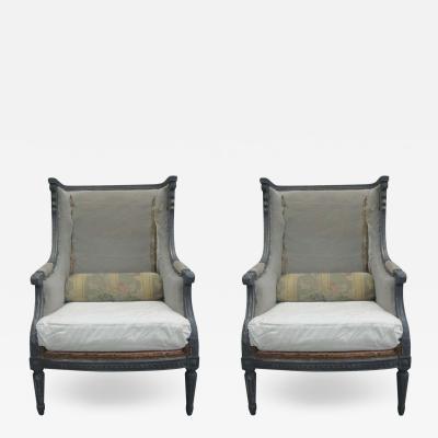 Maison Jansen Pair French Shabby Chic Louis XVI Wingback Lounge Chairs Attr Maison Jansen