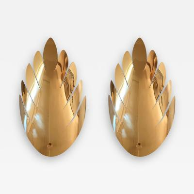 Maison Jansen Pair Mid Century Modern Large Brass Leaf Sconces Maison Jansen Style France 70s