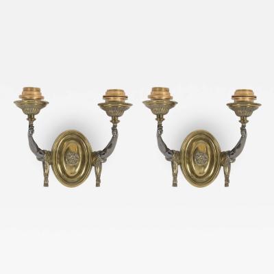 Maison Jansen Pair of 1940s Bronze sconces in the style of Maison Jansen