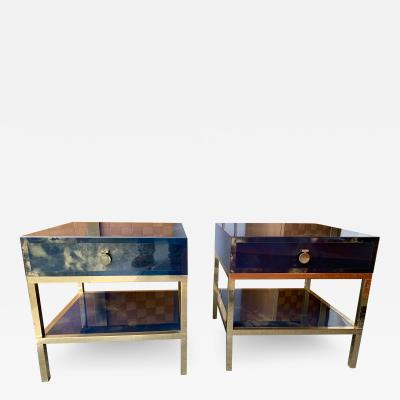 Maison Jansen Pair of Blue Lacquered and Brass Side Tables by Maison Jansen France 1970s