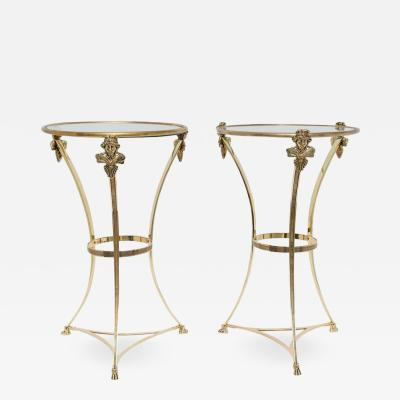 Maison Jansen Pair of Brass Side Tables
