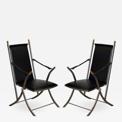 Maison Jansen Pair of Chic Folding Campaign Armchairs in the Style of Maison Jansen