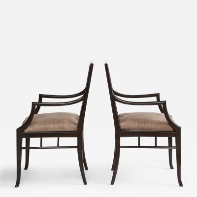 Maison Jansen Pair of Dark Grey Chinoiserie Armchairs by Maison Jansen France 1970s