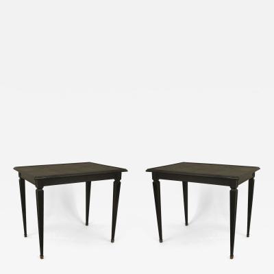 Maison Jansen Pair of French 1940s Ebonized Square Low End Tables