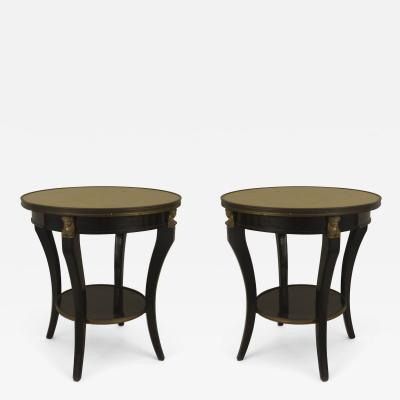 Maison Jansen Pair of French 1940s Ebonized and Bronze Trimmed Round End Tables