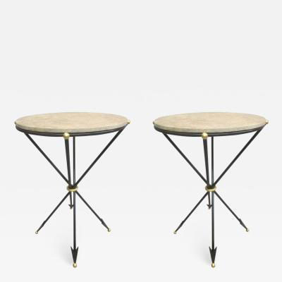 Maison Jansen Pair of French 1940s Style Modern Neoclassical Side Tables